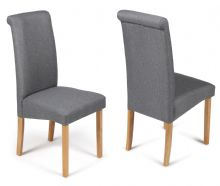 Pair of Grey Fabric Roma Chairs with Oak Legs 1/2 Price Deal